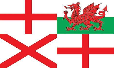 Tässä ehdotuksessa erottuvat Englannin, Pohjois-Irlannin ja Walesin edustukset.