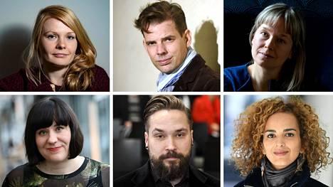 Saara Turunen (vas. ylh.), Alex Schulman, Pauliina Vanhatalo, Marjo Niemi (vas. alh.), Jukka Viikilä ja Leila Slïmani.