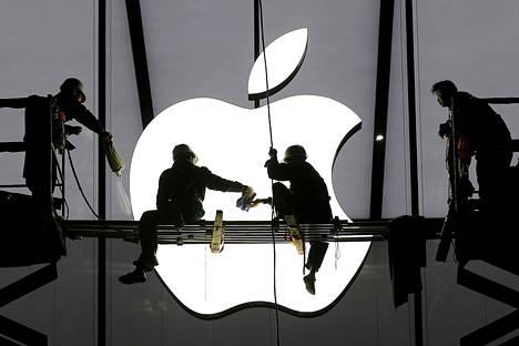 Applen myymälää valmistellaan avattavaksi Hangzhoussa Kiinassa.