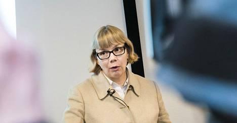 Elina Grundström valokuvattiin 2017 JSN:n tiedotustilaisuudessa Helsingissä.