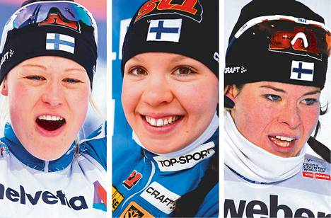 Anne Kyllönen (vas.), Kerttu Niskanen ja Krista Lähteenmäki taistelevat Tour de Skin kokonaiskilpailun kolmannesta sijasta.