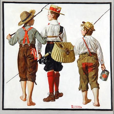 Kuvataidekriitikot eivät arvostaneet Norman Rockwellin töitä hänen elinaikanaan. Kuvassa teos Fishing Trip, They'll Be Coming Back Next Week vuodelta 1919.