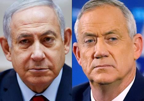 Israelin vaaleissa vallasta kamppailevat pääministeri Benjamin Netanjahu (vas.) ja entinen puolustusvoimien komentaja Benny Gantz.