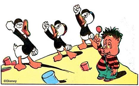 Ankanpojat taistelevat lujana rintamana saippuaa vastaan.