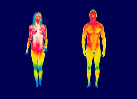 Lämpökamerakuva näyttää, mitkä kehon osat säteilevät lämpöä eniten. Ne näkyvät punaisina.