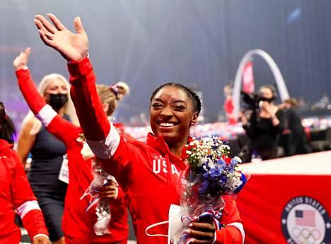 Voimistelija Simone Biles oli Tokion olympialaisten seuratuimpia urheilijoita.