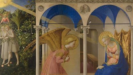 Fra Angelico (n. 1395–1455): Marian ilmestys. Teos on esillä Madridissa sijaitsevassa Prado-museossa.