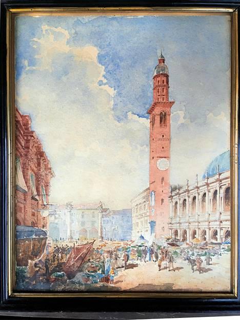 Gustaf Nyströmin akvarellimaalaus Vicenzan torilta vuoden 1891 Italian-matkalta.
