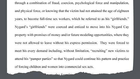 Ote Peter Nygårdia vastaan nostetusta joukkokanteesta, jota perusteltiin 99-sivuisella dokumentilla.