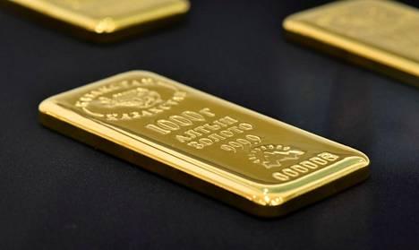 Kilogramman painoinen kultaharkko oli esillä Kazakstanin kansallispankissa Almatyssa vuonna 2017.