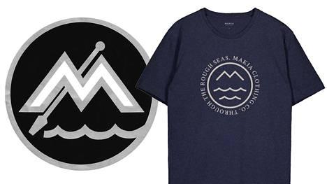 Vasemmalla Merimelojat ry:n logo, oikealla Makian verkkokaupassa myynnissä oleva t-paita.