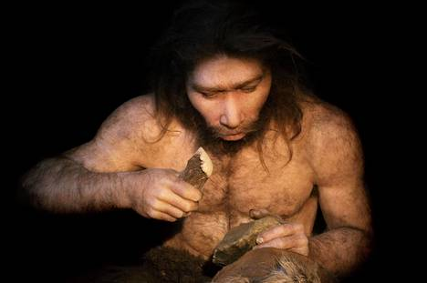 Rekonstruktiokuva siitä, miltä neandertalinihminen on näyttänyt. Rekonstruktio on tehty aiemmin tehtyjen hautalöytöjen perusteella.