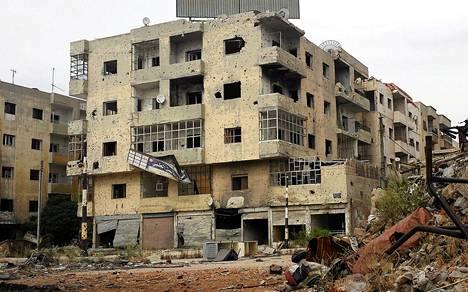 Jab al-Jandalin kaupunginosa Homsissa on vaurioitunut Syyrian sodan pommituksissa.