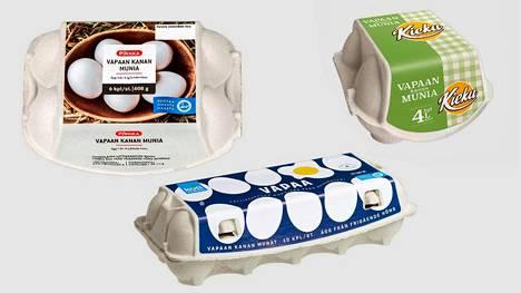 Myynnistä pois vedettävät munat on pakattu Kiekun pakkaamossa.