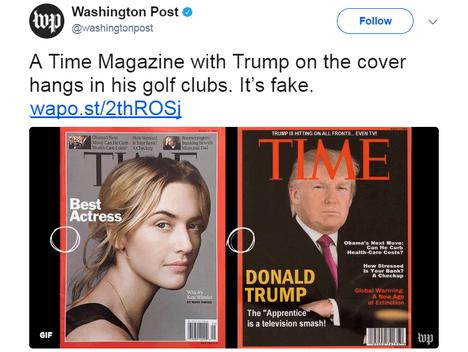 Washington Post näyttää, millä kaikilla tavoilla Trumpin golf-klubeissa roikkuva kuva poikkeaa Timen oikeasta maaliskuussa 2009 ilmestyneestä kannesta.