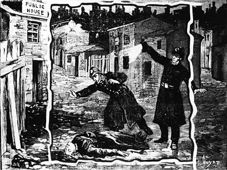 Poliisit löytävät Viiltäjä-Jackin uhrin, ehkä Catherine Eddowesin. Piirros vuodelta 1888.