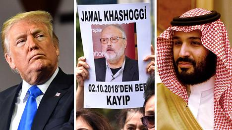 Yhdysvaltain presidentti Donald Trump, kadonnut sauditoimittaja Jamal Khashoggi ja Saudi-Arabian kruununprinssi Muhammed bin Salman.