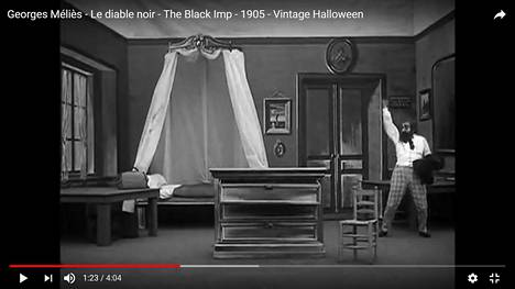 Ranskalainen Georges Méliès hyödynsi varhaisissa fantasiaelokuvissaan erikoisefektejä. – Ruutukaappaus Méliès'n mykkäelokuvasta Le diable noir vuodelta 1905.