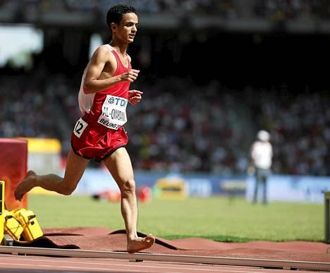 Paljain jaloin juossut Jemenin Abdullah Al-Qwabani jäi alkuerässään viimeiseksi.