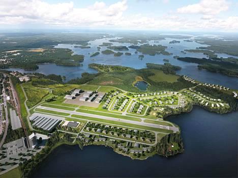 Havainnekuva Mänttä-Vilppulaan suunnitellusta Lakeside Airpark Finlandista.