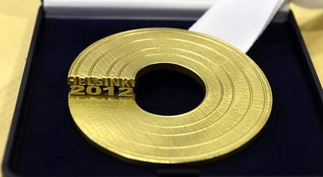 EM-kisojen kultamitali näyttää tältä.
