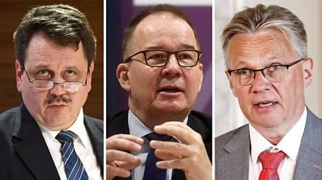 Petri Knape, Antti Pelttari ja Pertti Rauhio, hakevat johtamaan suojelupoliisia.