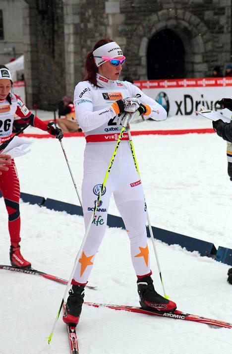Linn Sömskar osallistui hiihdon maailmancupin kilpailuun Kanadan Quebecissa vuonna 2012.