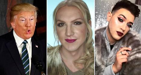 Donald Trump (vas.), Teemu Sumell ja Manny Gutierrez meikkaavat.