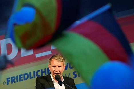 Vaihtoehto Saksalle -puolueen radikaalin siiven johtohahmo Björn Höcke kampanjoi lauantaina Königs Wusterhausenin kaupungissa Brandenburgin osavaltiossa.