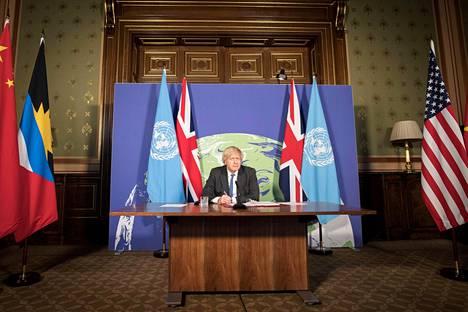 Pääministeri Boris Johnson johti helmikuussa YK:n turvallisuusneuvoston ilmasto- ja turvallisuusistuntoa etänä brittiulkoministeriön Lontoon-toimistolta käsin.
