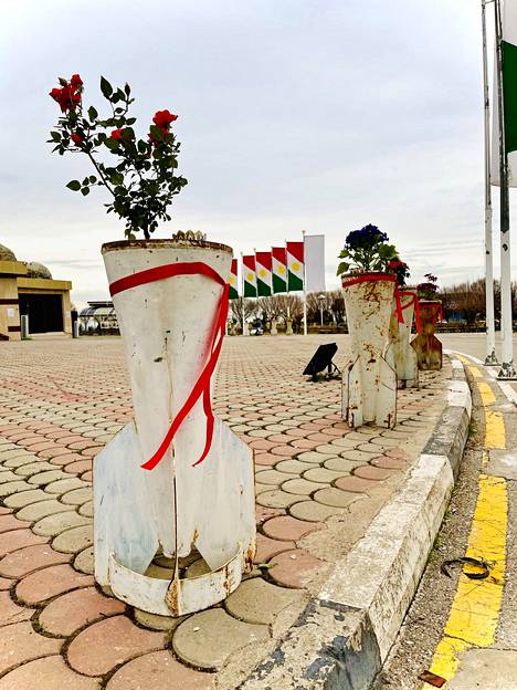 The remnants of the rockets come from the Halabja area.