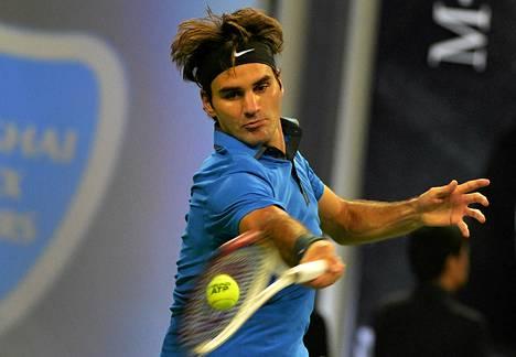 Roger Federer otteli Stanislas Wawrinkaa vastaan tänään Shanghaissa.