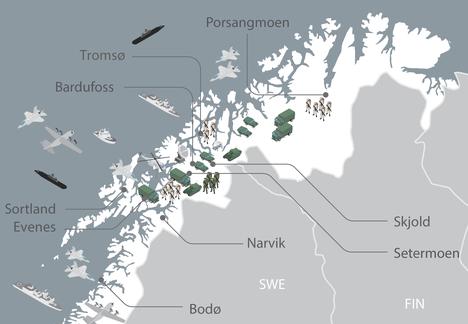Norjan puolustusvoimien julkaisema kartta harjoitusalueesta.