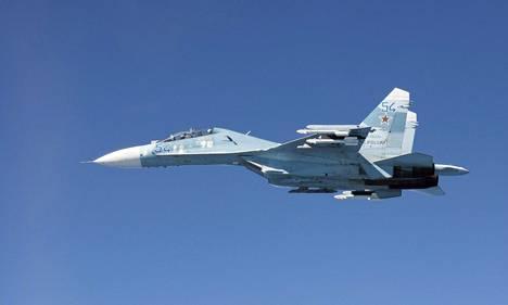 Venäläinen Suhoi Su-27 -hävittäjä.