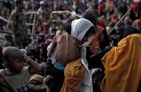 Rohingyapakolaisia leirissä Cox's Bazarissa, Bangladeshissa. Kuva otettu syyskuussa 2017.