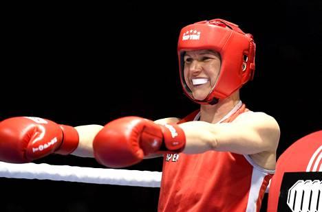 Mira Potkonen eteni kolmannelle kierrokselle nyrkkeilyn MM-kisoissa. Kuva GeeBee-turnauksesta 10. maaliskuuta 2019.