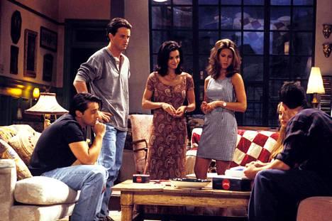 Frendit-sarjassa näyttelivät Matt LeBlanc (vas.), Matthew Perry, Courtney Cox Arquette, Jennifer Aniston, Lisa Kudrow ja David Schwimmer.