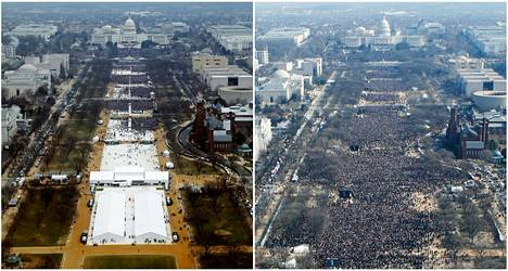 On the left is a picture of the crowd at Donald Trump's inauguration in 2017 and on the right at Barack Obama's inauguration in 2009.