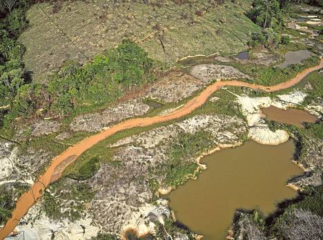 Laittoman kullankaivun köyhdyttämää Amazonin sademetsää Parán osavaltiossa.