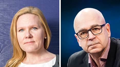 Lapsiasiavaltuutettu Elina Pekkarinen ja JSN:n puheenjohtaja Eero Hyvönen.