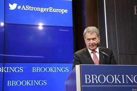 Tasavallan presidentti Sauli Niinistö piti yleisöluennon Brookings-instituutissa Washingtonissa torstaina.