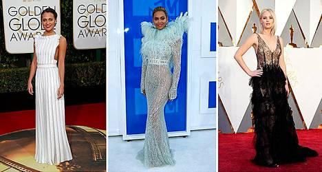Vogue piti todisteena rintavakomuodin poismenosta Alicia Vikanderin Kultainen maapallo -mekkoa (vas.), joka peittää rinnan. Beyoncé pukeutui myös peittävään mekkoon MTV Video Music Awardseihin. Jennifer Lawrencen Oscar-puku helmikuulta taas edustaa 1970-lukulaista rintaihannetta.