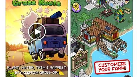 Apple Store- ja Google Play -sovelluskaupoista löytyy useita kannabiksen kasvatukseen liittyviä animaatiomobiilipelejä.