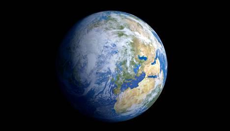 Maantieteellinen pohjoisnapa on alkanut liikkua hitaasti. Kuvittajan näkemys maapallosta avaruudesta katsottuna.