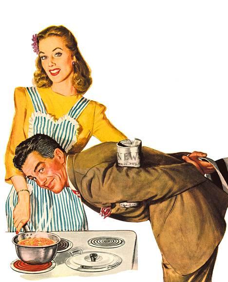 Nainen ja hänen paikkansa yhdysvaltalaisessa tölkkikeittomainoksessa vuodelta 1944.