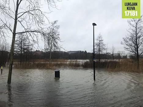 Töölönlahtea kiertäviä polkuja on jäänyt veden alle, kun vesi on noussut huomattavan korkealle.