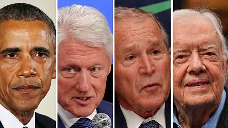 Kuvassa vasemmalta oikealle: Barack Obama, Bill Clinton, George W. Bush ja Jimmy Carter.