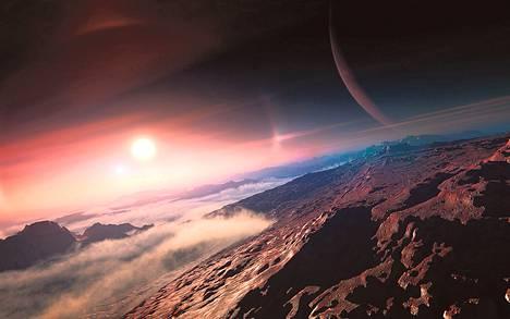 Taiteilijan näkemys yhden eksoplaneetan kuulta <br />emotähteen. Kuvan teetti kansainvälinen tähtitieteellinen unioni (IAU). Nimetön eksoplaneetta piirtyy isona oikealla. Eksoplaneetta on planeetta, joka kiertää jotain muuta tähteä kuin Aurinkoa.