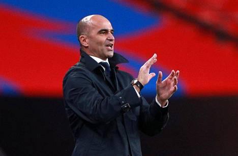 Belgian jalkapallomaajoukkueen päävalmentaja Roberto Martinez reagoi Kansojen liigan ottelussa Englantia vastaan lokakuussa 2020.