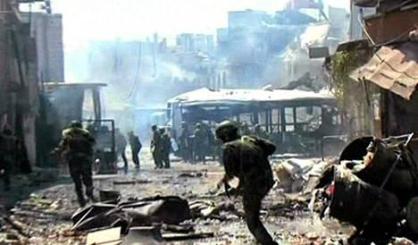 Syyrian virallisen televisiokanavan julkaisema kuva Damaskoksesta.